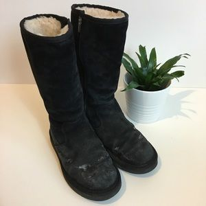 Tall Classic Black Zipper UGG Boots Size 6